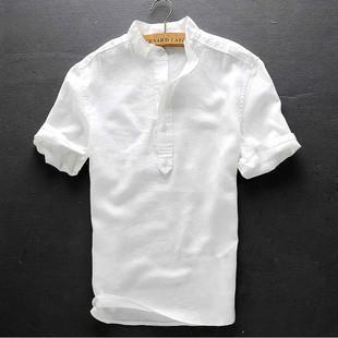 男士立领短袖棉麻衬衫修身款上衣休闲透气夏装白色亚麻衬衣男半袖
