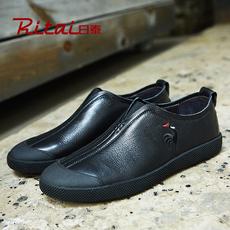 日泰男鞋时尚潮鞋秋季男士真皮休闲鞋软底软面皮鞋男板鞋套脚鞋子