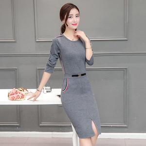 2018春装新款连衣裙韩版长袖显瘦圆领中长款气质开叉包臀一步裙子