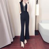 连体阔腿裤女夏2018新款女装夏装泰国高腰显瘦韩版连衣裤黑色裤子