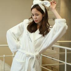 法兰绒睡衣女冬珊瑚绒加厚中长款韩版甜美可爱连帽睡袍浴袍家居服