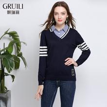 新款衬衫拼接假两件长袖宽松上衣女条纹针织打底衫200斤胖mm秋装