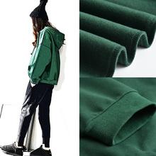 绿色春秋卫衣2019新款女韩版宽松加厚加绒潮套头连帽长袖女装上衣