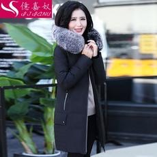 中老年羽绒服女中长款加厚2017新款宽松大码妈妈装冬装大毛领外套