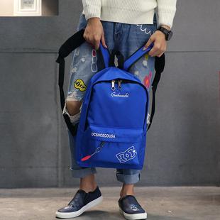 韩版双肩包男士背包潮流帆布书包高中生电脑包男休闲时尚2017新款