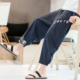 亚麻九分裤男夏季宽松束脚阔腿休闲哈伦裤薄款大码中国风裤子潮流