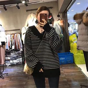2017早春新款V领宽松毛衣女韩版经典条纹兔绒针织衫套头打底衫