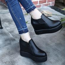 女式低帮鞋2018秋季新款单鞋时尚圆头中跟内增高松糕底休闲侧拉链