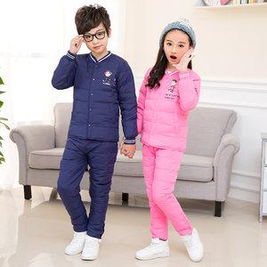 冬装新款儿童羽绒<span class=H>内胆</span>套装男童女童中大童加厚保暖外套长裤子