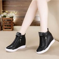 2017春夏韩版女鞋隐形内增高女鞋高帮坡跟白色休闲鞋运动旅游鞋潮