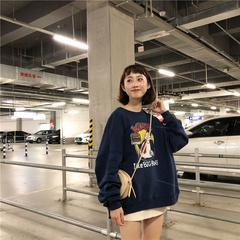 大sim韩版卫衣女2018秋冬新款加绒加厚冠军套头无帽长袖宽松学生