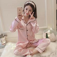 韩版睡衣女秋长袖冰丝春丝绸真丝性感公主风可外穿家居服套装冬季