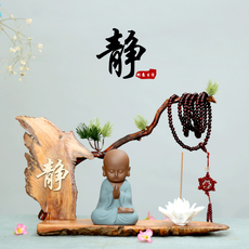 创意新中式小和尚紫砂茶宠摆件禅意家居装饰办公饰品精品茶具配件