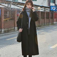 2017秋冬韩国新款毛呢外套女过膝中长款学生宽松森系加厚呢子大衣