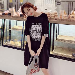 加肥加大码孕妇装T恤衫夏季新款连衣裙子韩版宽松中长款纯棉卫衣