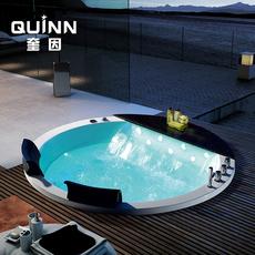 浴缸亚克力圆形嵌入式情侣浴池 恒温泡泡双人按摩浴缸1.2米-2米