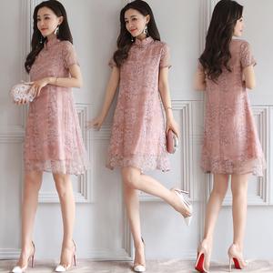 中国风印花旗袍连衣裙女装夏季新款短款改良旗袍裙子显瘦A字裙潮