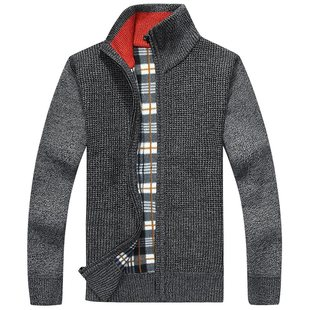 Men's Stand Collar Plaid Sweater Boys Zip Cardigan Jacket