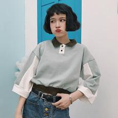 七分袖T恤女夏装韩版潮bf宽松百搭拼色Polo领短款学生保罗衫上衣