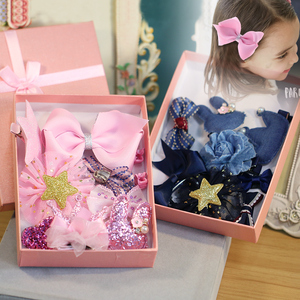 韩国儿童发饰甜美布艺发夹抓夹边夹小女孩发绳头绳发圈头饰品套装发夹