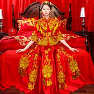 秀禾服新娘2018新款龙凤褂凤冠霞帔中式婚纱礼服嫁衣秀和服敬酒服