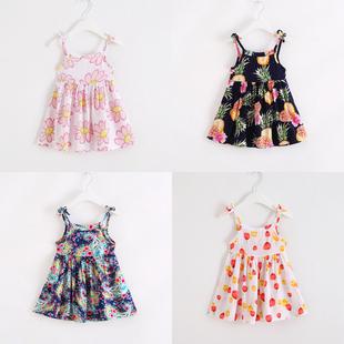 儿童连衣裙绵绸女童公主裙小女孩人造棉洋气吊带裙薄宝宝棉绸裙子