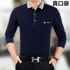 秋冬季新款中年男士长袖T恤 纯棉色翻领大码中老年爸爸男装真口袋