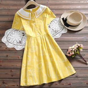 夏装新款中学生连衣裙学院风12-13-15岁少女孩小清新棉麻公主裙子