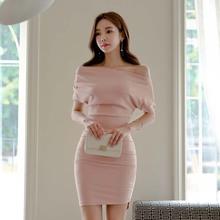 夏装2018新款女韩版时尚性感一字肩蝙蝠短袖修身包臀开叉连衣裙潮