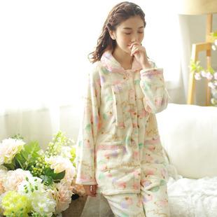 春秋薄款孕妇花朵睡衣珊瑚绒哺乳服产妇舒适产后月子服保暖套装
