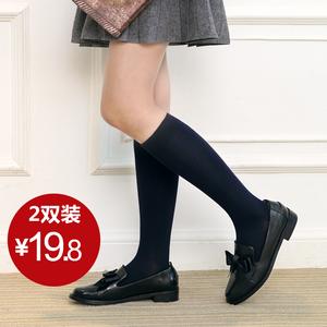 韩国学院风日系堆堆袜不过膝学生小腿长高半截及膝袜子女春中筒袜