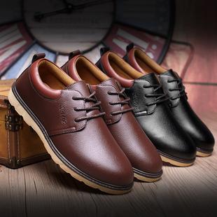 春夏季新款男鞋男士休闲鞋英伦商务黑色圆头皮鞋男鞋子保暖棉鞋