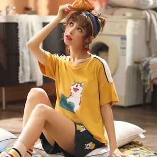 睡衣女夏季短袖短褲純棉兩件套套裝韓版清新學生可愛薄款家居服春