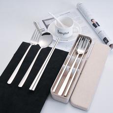 健康304不锈钢方筷子勺子叉子学生筷勺叉餐具套装旅行便携餐具盒