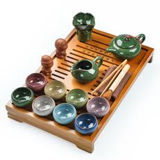 整套陶瓷冰裂釉功夫茶具套装竹制茶盘套装茶道茶海茶托包邮特价