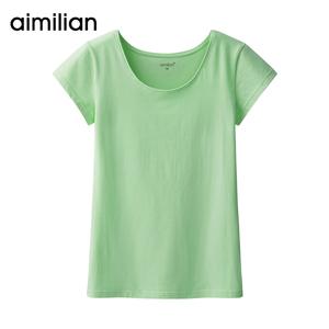 艾米恋春装短袖t恤女装纯色紧身白色上衣修身显瘦圆领体恤打底衫女装T恤