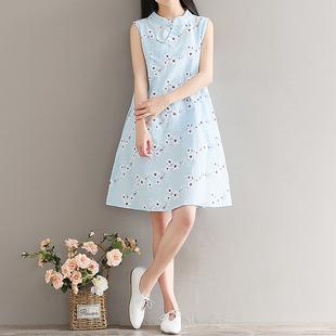夏季女装复古中式改良旗袍裙宽松中长款碎花裙棉麻无袖背心连衣裙