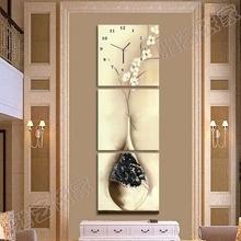无框画三联画竖式钟表装 大气家居装 饰画风格 饰时尚 传统艺术挂钟