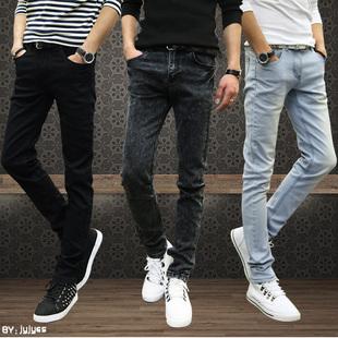 夏季牛仔裤男弹力修身型直筒男款青少年男裤子秋季薄款青年小脚裤