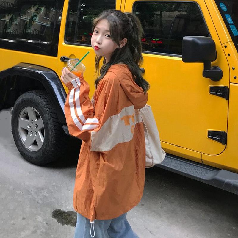 早秋新款韩版原宿bf风拼色印花宽松显瘦长袖套头连帽薄外套女上衣图片