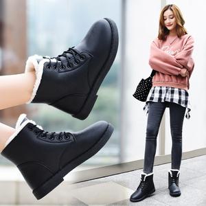 2017新款冬季加绒加厚皮面防水雪地靴棉鞋短靴短筒女鞋学生冬鞋子女靴