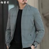 春秋新品薄款棒球领格子夹克衫中年男士商务外套爸爸休闲男装上衣