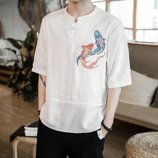 夏季中国风棉麻短袖T恤男士鲤鱼刺绣印花潮流五分袖宽松大码半袖