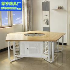 电脑网吧异形五角办公蜂巢桌防火板桌面定制金属框架带锁机箱