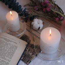 圆柱蜡烛无烟大蜡烛拍照道具玻璃烛台烛盘chic 浪漫家居装 饰ins风