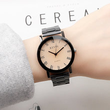 Korean version fashionable simple Roman scale original sustenance style retro British men's steel band female student quartz couple Watch
