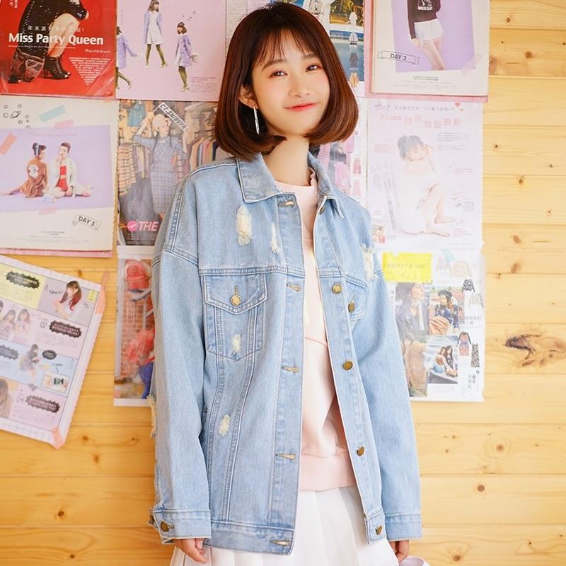 小清新牛仔外套女宽松学生韩版bf2018春秋新款破洞浅色短款牛仔衣图片