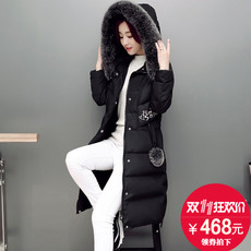 女款时尚狐狸毛球羽绒服女中长款2017新款韩版潮修身加厚冬季外套