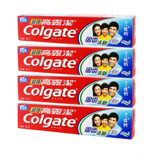 高露洁坚固牙齿清新防蛀 含氟清洁清爽薄荷牙膏90g 140g    4只装