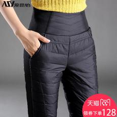 羽绒裤女外穿高腰加厚显瘦双面大码白鸭绒冬季保暖韩版铅笔棉裤女